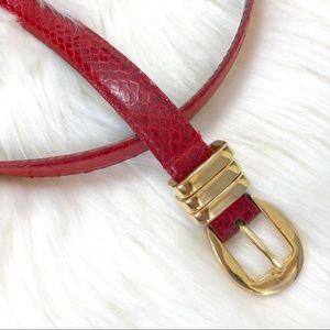 Vintage Red Genuine Snakeskin Leather Belt